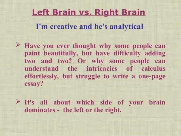 left brain vs right brain implications of learning essay