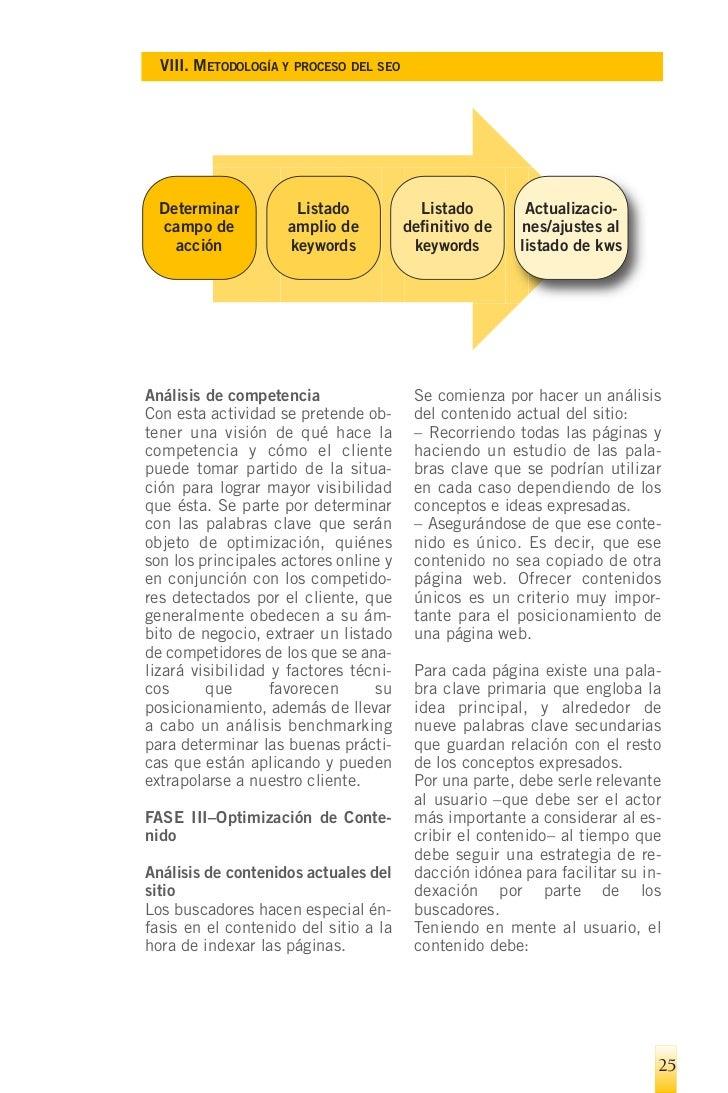 VIII. METODOLOGÍA Y PROCESO DEL SEO    – Estar escrito con claridad y co-        jerarquía lógica de la información  heren...