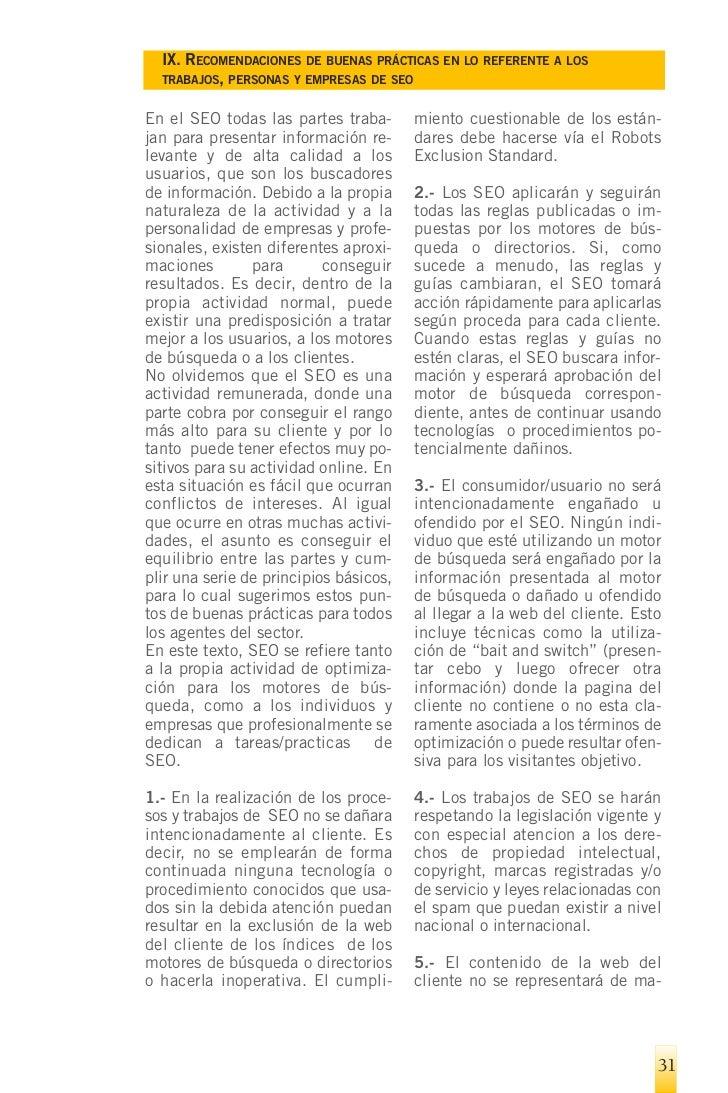 IX. RECOMENDACIONES DE BUENAS PRÁCTICAS EN LO REFERENTE A LOS      TRABAJOS, PERSONAS Y EMPRESAS DE SEO    nera falsa. Est...