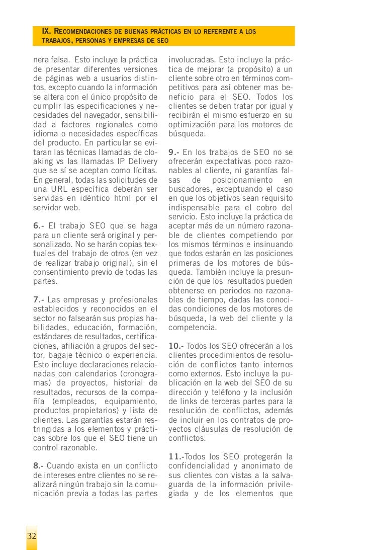 IX. RECOMENDACIONES DE BUENAS PRÁCTICAS EN LO REFERENTE A LOS   TRABAJOS, PERSONAS Y EMPRESAS DE SEO   implican recomendac...
