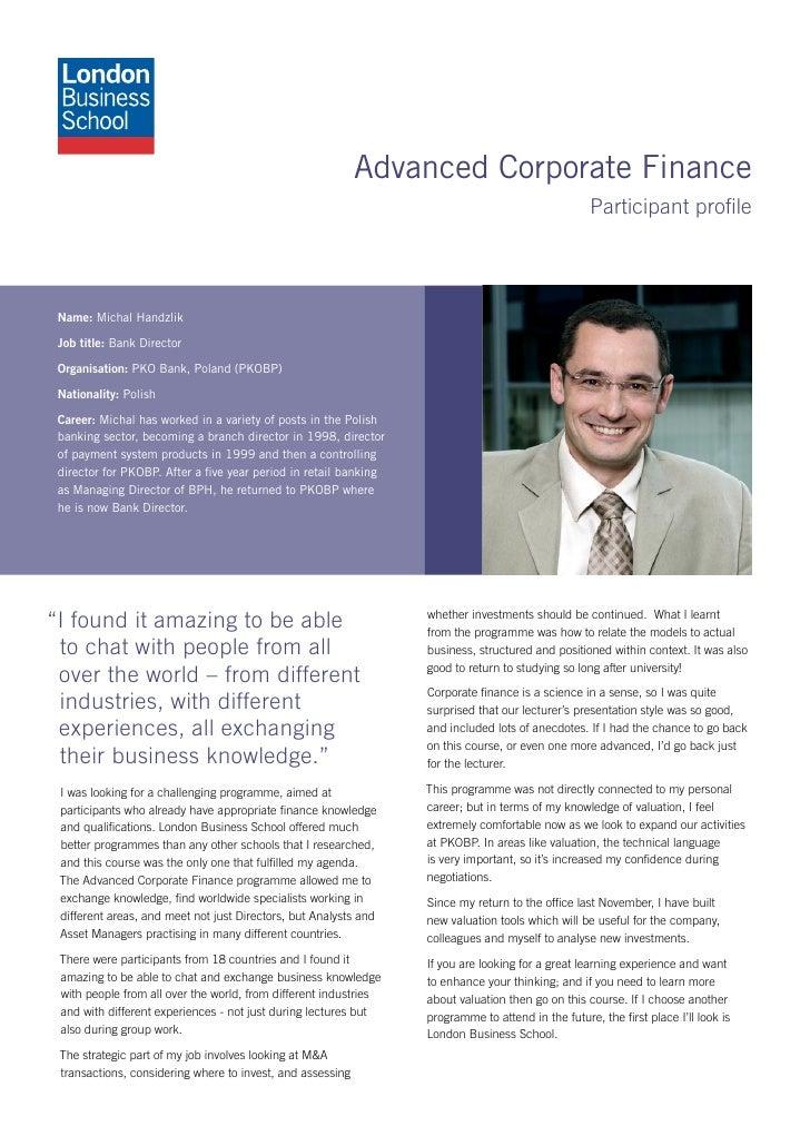 Advanced Corporate Finance                                                                                                ...