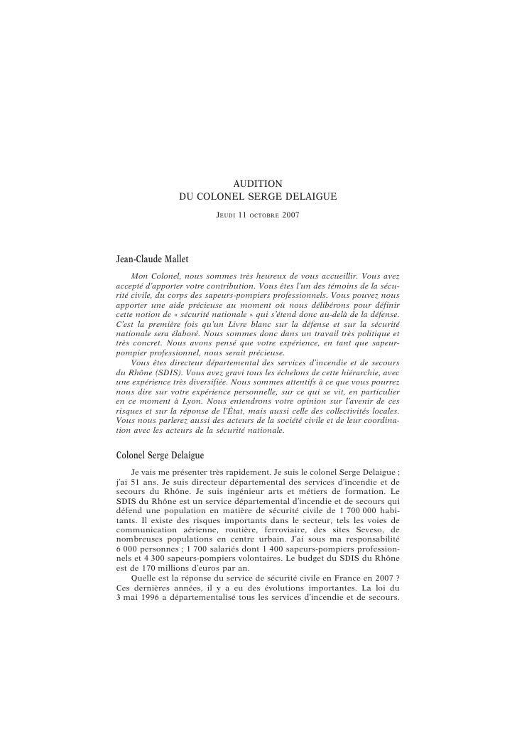C O LO N E L SE RG E DE LAI G UE                                          35  l'improviser. Dans le département du Rhône, ...