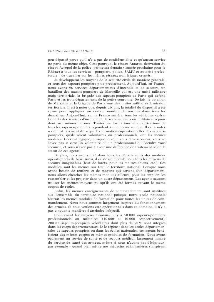C O LO N E L SE RG E DE LAI G UE                                           37  catastrophe de Feyzin en 1966, à ce que le ...