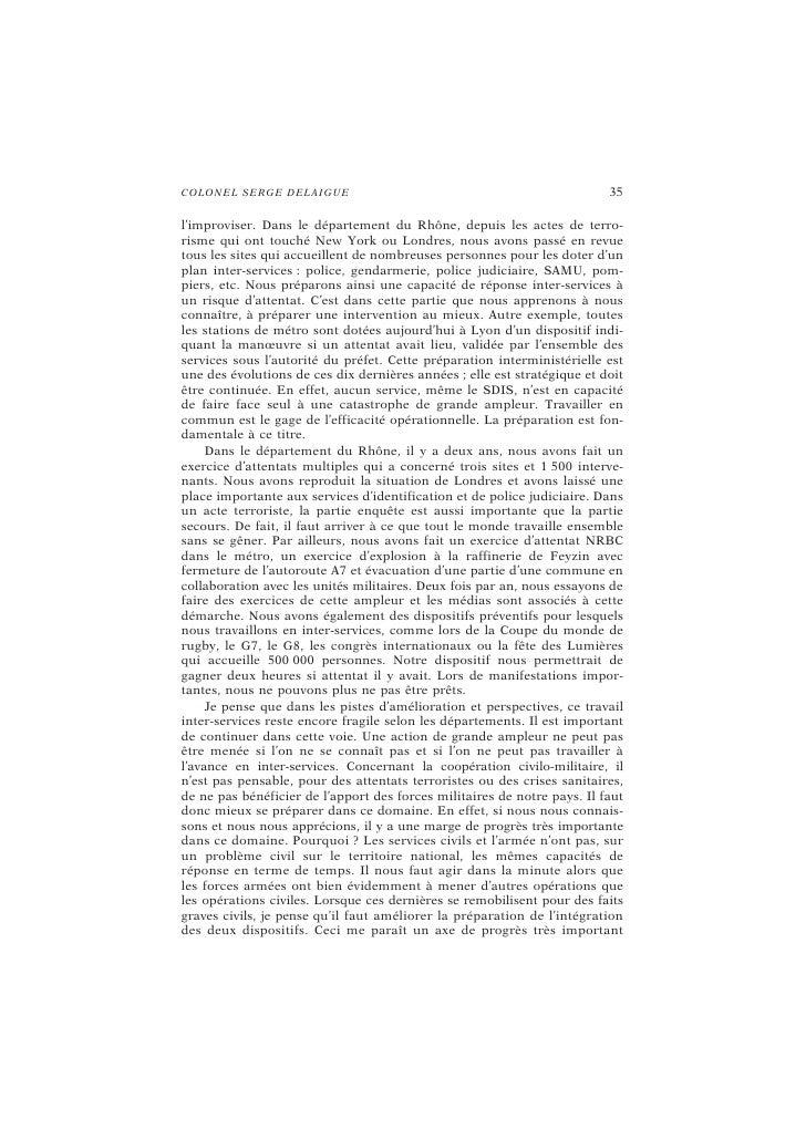 C O LO N E L SE RG E DE LAI G UE                                           39  d'amélioration. La loi de 2004 a imposé le ...
