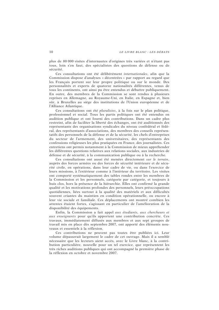 12                                        L E L I VR E B L A NC : L ES D ÉB A TS       Avec ce second volume du Livre blan...