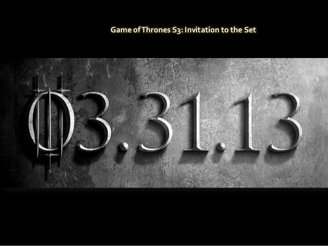 Game of Thrones S3: Invitation to the Setpor Usuario
