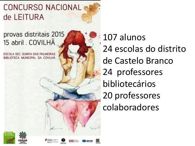107 alunos 24 escolas do distrito de Castelo Branco 24 professores bibliotecários 20 professores colaboradores