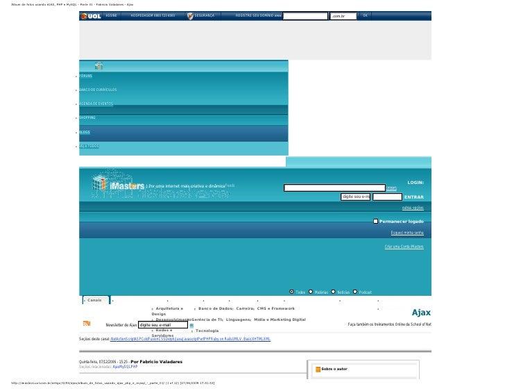 Álbum de fotos usando AJAX, PHP e MySQL - Parte 01 - Fabricio Valadares - Ajax                                            ...