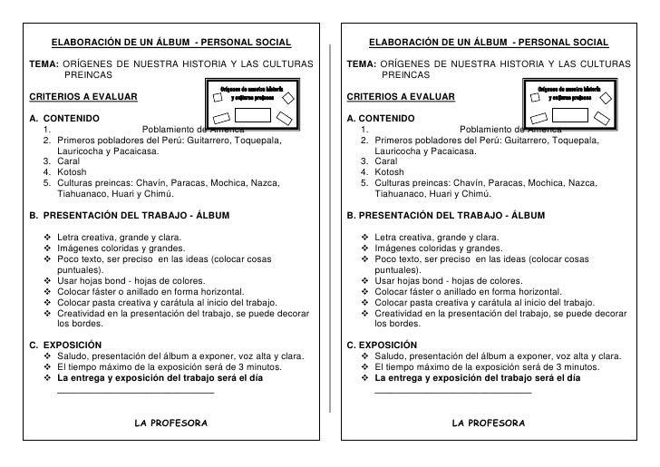 ELABORACIÓN DE UN ÁLBUM  - PERSONAL SOCIALTEMA: ORÍGENES DE NUESTRA HISTORIA Y LAS CULTURAS PREINCASCRITERIOS A EVALUARCON...