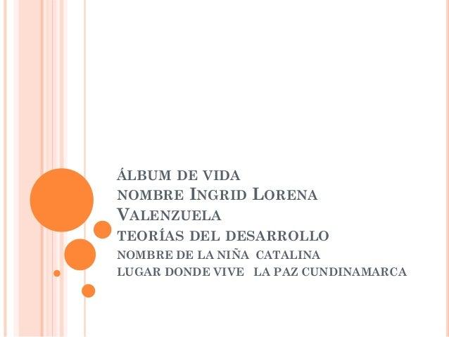 ÁLBUM DE VIDA NOMBRE INGRID LORENA VALENZUELA TEORÍAS DEL DESARROLLO NOMBRE DE LA NIÑA CATALINA LUGAR DONDE VIVE LA PAZ CU...