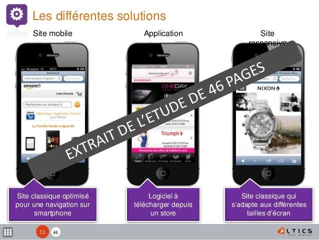 XX Les différentes solutions Site mobile Application Site responsive Site classique qui s'adapte aux différentes tailles d...