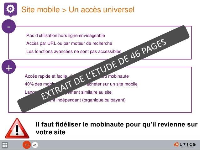 XX Il faut fidéliser le mobinaute pour qu'il revienne sur votre site Site mobile > Un accès universel Accès rapide et faci...