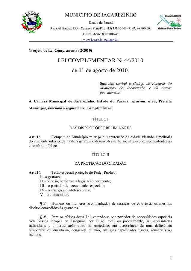 MUNICÍPIO DE JACAREZINHO                                         Estado do Paraná             Rua Cel. Batista, 335 – Cent...