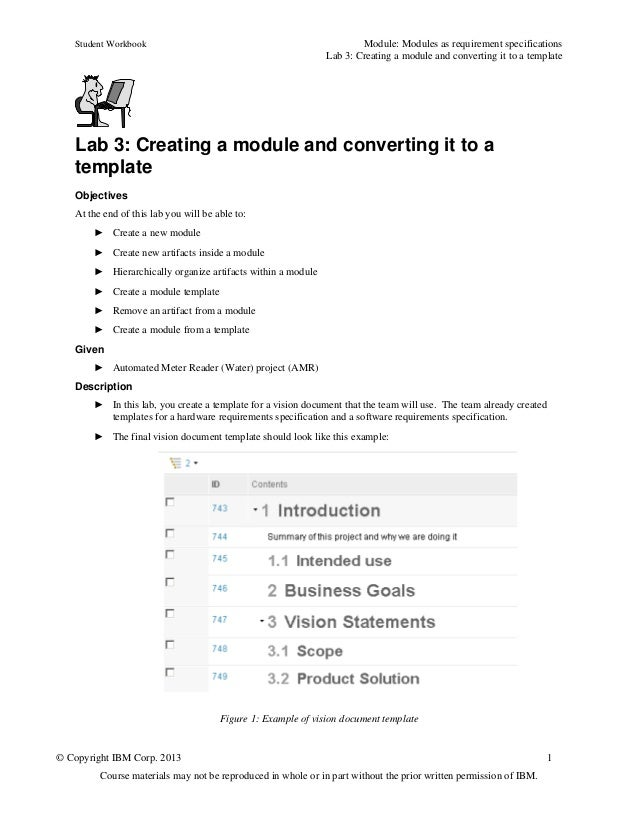 Student Workbook Module: Modules as requirement specificationsLab 3: Creating a module and converting it to a template© Co...