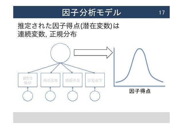因子分析モデル  17 推定された因子得点(潜在変数)は 連続変数, 正規分布 !  e1 e2 e3 e4