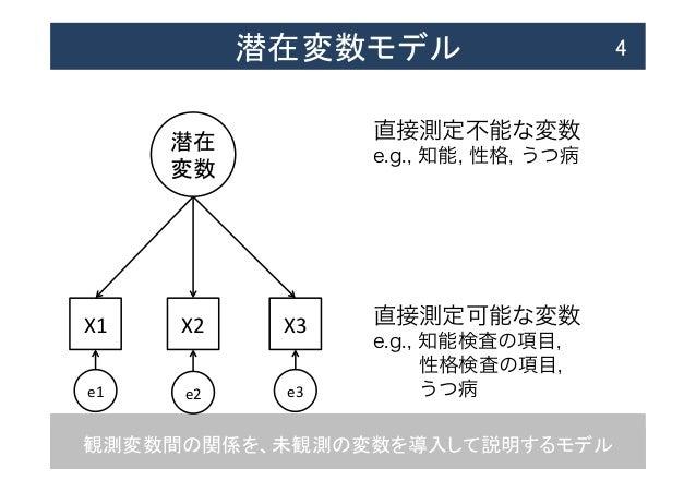 観測変数間の関係を、未観測の変数を導入して説明するモデル 潜在変数モデル  4 X1  X2  X3 潜在   変数 e1  e2  e3 直接測定不能な変数 e.g., 知能, 性格, うつ病 直接測定可能な変数 e....