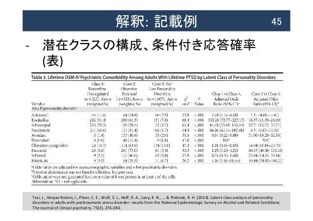 解釈: 記載例  45 -‐ 潜在クラスの構成、条件付き応答確率   (表)   Tsai,  J.,  Harpaz-‐Rotem,  I.,  Pilver,  C.  E.,  Wolf, ...