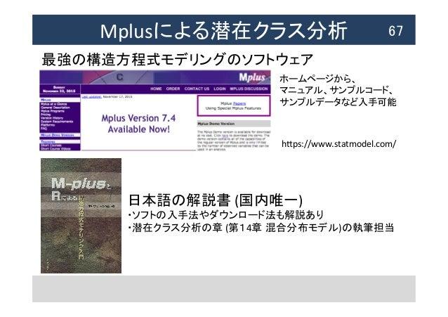 Mplusによる潜在クラス分析  67 最強の構造方程式モデリングのソフトウェア 日本語の解説書  (国内唯一)   ・ソフトの入手法やダウンロード法も解説あり   ・潜在クラス分析の章  (第14章 混合分布モデル)の執...