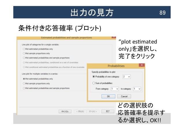"""出力の見方  89 条件付き応答確率 (プロット) """"plot  esNmated   only」を選択し、   完了をクリック   どの選択肢の   応答確率を提示す るか選択し、OK!!"""