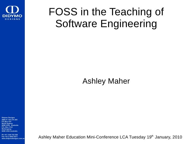 FOSS in the Teaching of                                 Software Engineering                                              ...