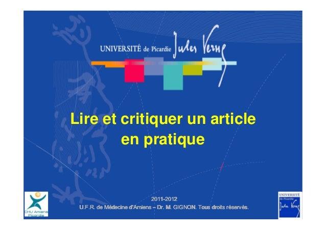 Lire et critiquer un article        en pratique                            2011-                            2011-2012 U.F....