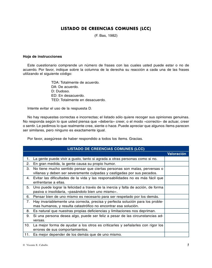 LISTADO DE CREENCIAS COMUNES (LCC)                                               (F. Bas, 1982)Hoja de instrucciones    Es...