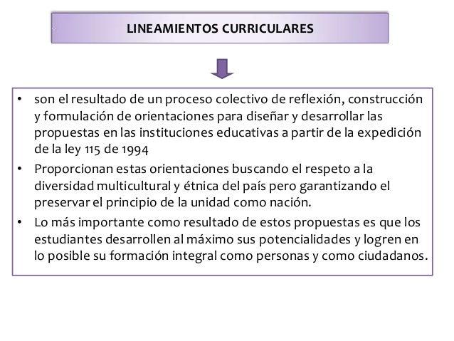 LINEAMIENTOS CURRICULARES • son el resultado de un proceso colectivo de reflexión, construcción y formulación de orientaci...