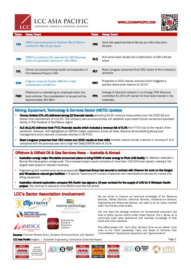 Australian Engineering & Mining Services M & A Activity Slide 2