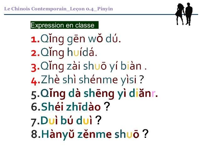 Le Chinois Contemporain_Leçon 0.4_Pinyin Expression en classe