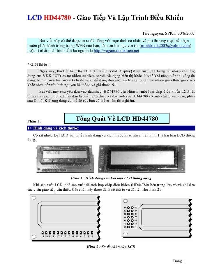 LCD HD44780 - Giao Tiếp Và Lập Trình Điều Khiển                                                                      Triet...