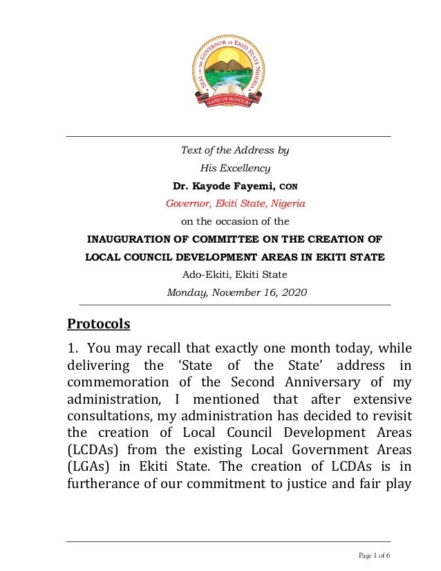 Page 1 of 6 Text of the Address by His Excellency Dr. Kayode Fayemi, CON Governor, Ekiti State, Nigeria on the occasion of...