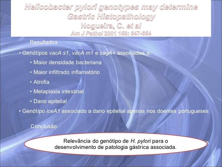 Resultados <ul><li>Genótipos  vacA s1, vacA m1  e  cagA+  associados a: </li></ul><ul><ul><li>Maior densidade bacteriana <...