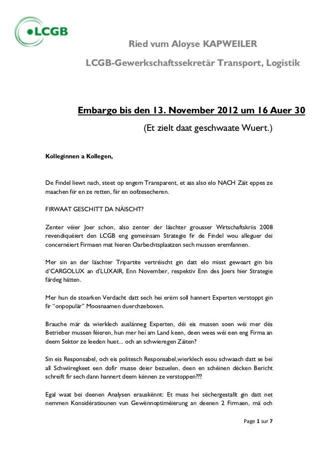 Ried vum Aloyse KAPWEILER               LCGB-Gewerkschaftssekretär Transport, Logistik            Embargo bis den 13. Nove...