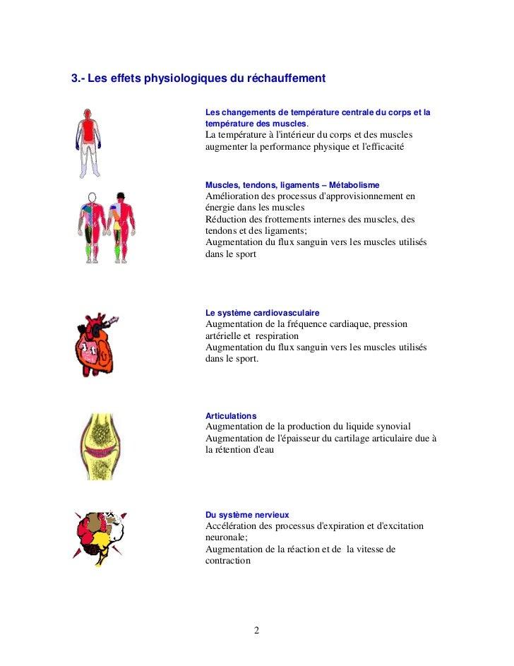 3.- Les effets physiologiques du réchauffement                        Les changements de température centrale du corps et ...