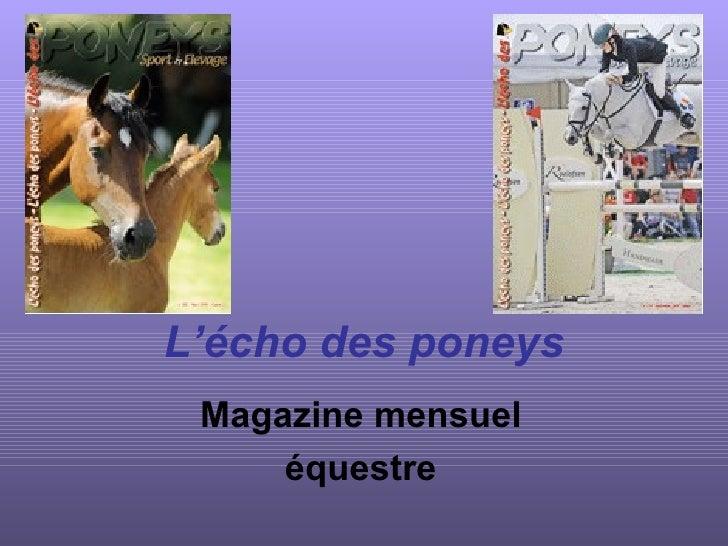L'écho des poneys Magazine mensuel équestre