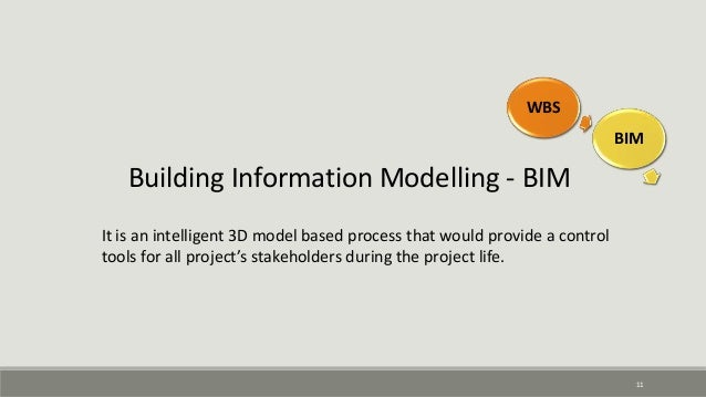11 Building Information Modelling - BIM It is an intelligent 3D model based process that would provide a control tools for...