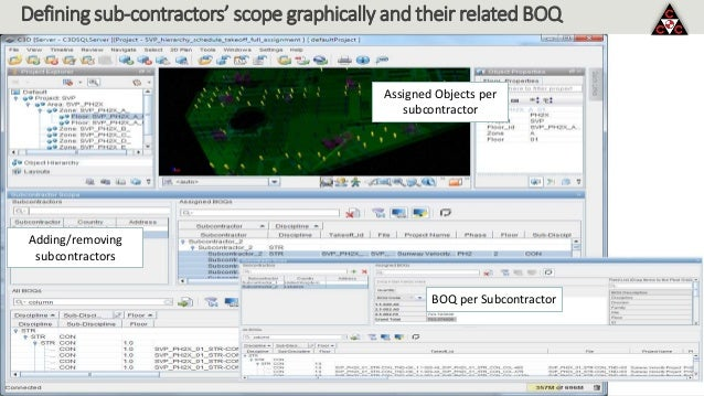 Defining sub-contractors' scope graphically and their related BOQ Adding/removing subcontractors BOQ per Subcontractor Ass...