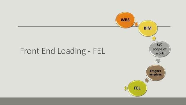 Front End Loading - FEL WBS BIM S/C scope of work Fragnet templates FEL
