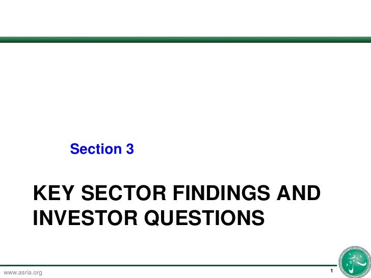 Key Sector Findings and investor questions<br />1<br />	Section 3<br />