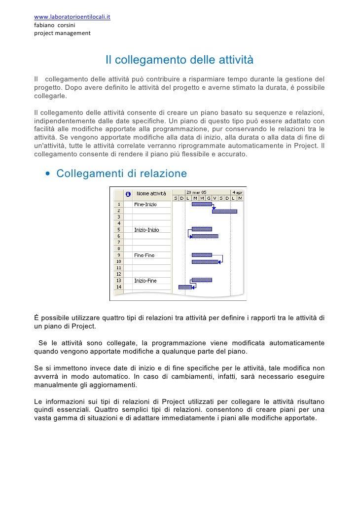 www.laboratorioentilocali.it fabiano corsini project management                              Il collegamento delle attivit...