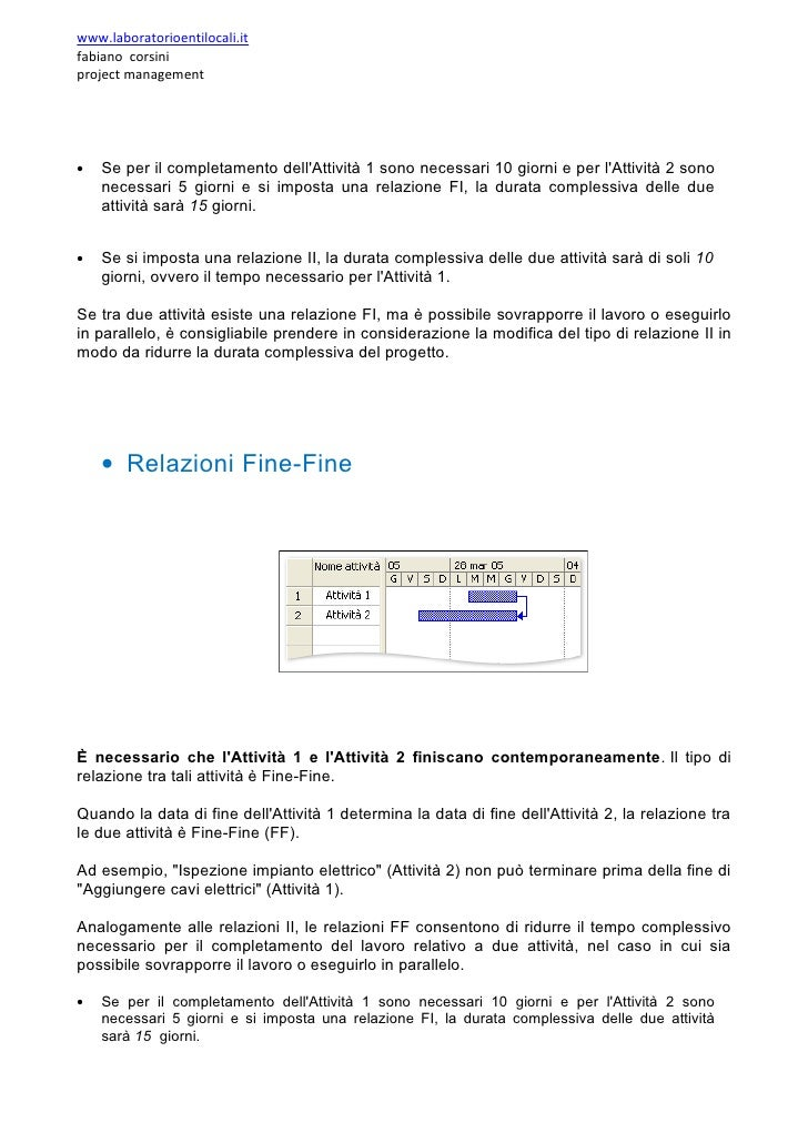 www.laboratorioentilocali.it fabiano corsini project management     •   Se per il completamento dell'Attività 1 sono neces...