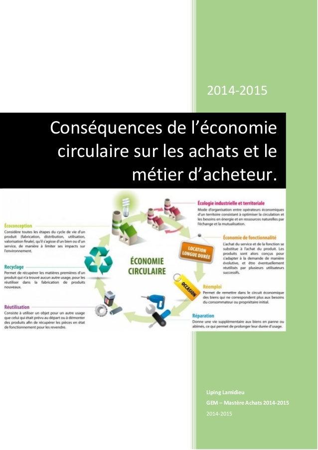 2014-2015 Liping Lamidieu GEM – Mastère Achats 2014-2015 2014-2015 Conséquences de l'économie circulaire sur les achats et...
