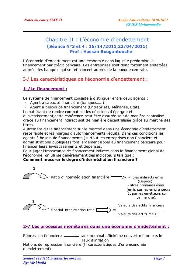 Notes du cours EMF II                                  Année Universitaire 2010/2011                                      ...