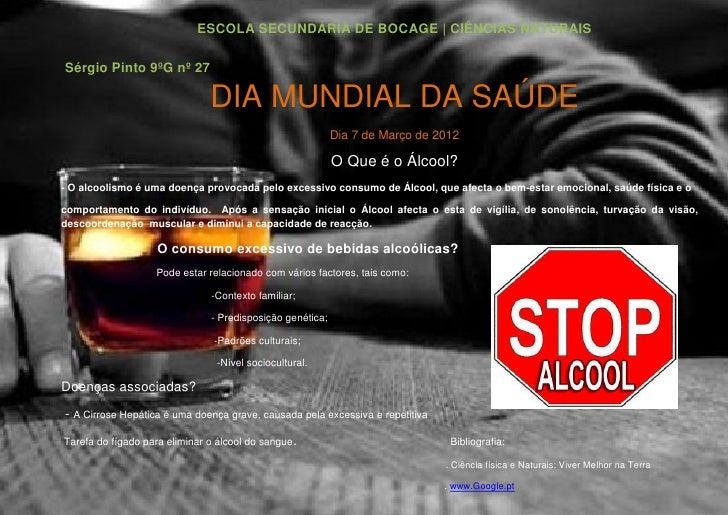 ESCOLA SECUNDÁRIA DE BOCAGE | CIÊNCIAS NATURAISSérgio Pinto 9ºG nº 27                               DIA MUNDIAL DA SAÚDE  ...