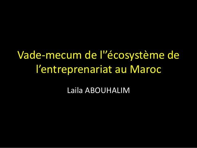 Vade-mecum de l''écosystème de l'entreprenariat au Maroc Laila ABOUHALIM
