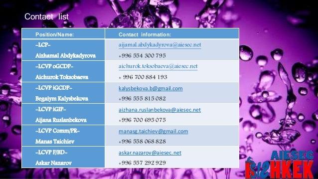 Position/Name: Contact information: -LCP- Aizhamal Abdykadyrova aijamal.abdykadyrova@aiesec.net +996 554 300 795 -LCVP oGC...