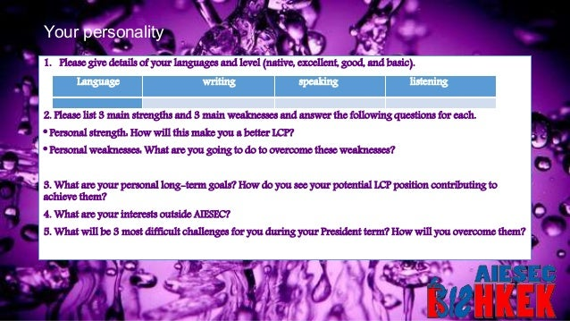 Your personality 1. Please give details of your languages and level (native, excellent, good, and basic). 2. Please list 3...