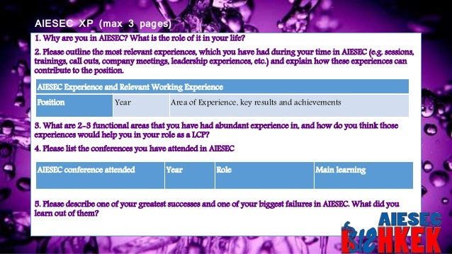 AIESEC XP (max 3 pages) 1. Why are you in AIESEC? What is the role of it in your life? 2. Please outline the most relevant...