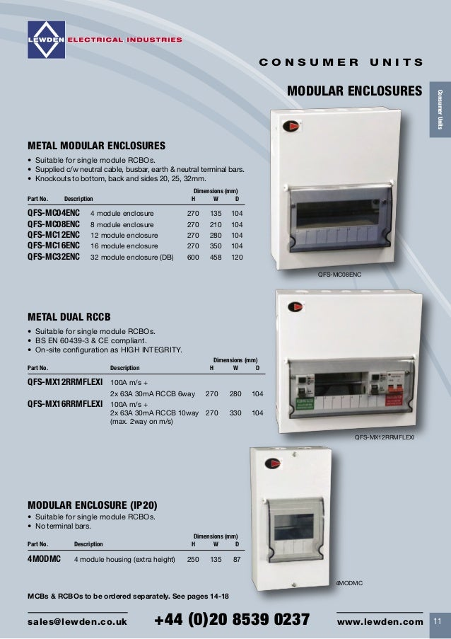 Lewden QFS-MB14 Insulated Consumer Unit with 100A Main Switch 12 Way