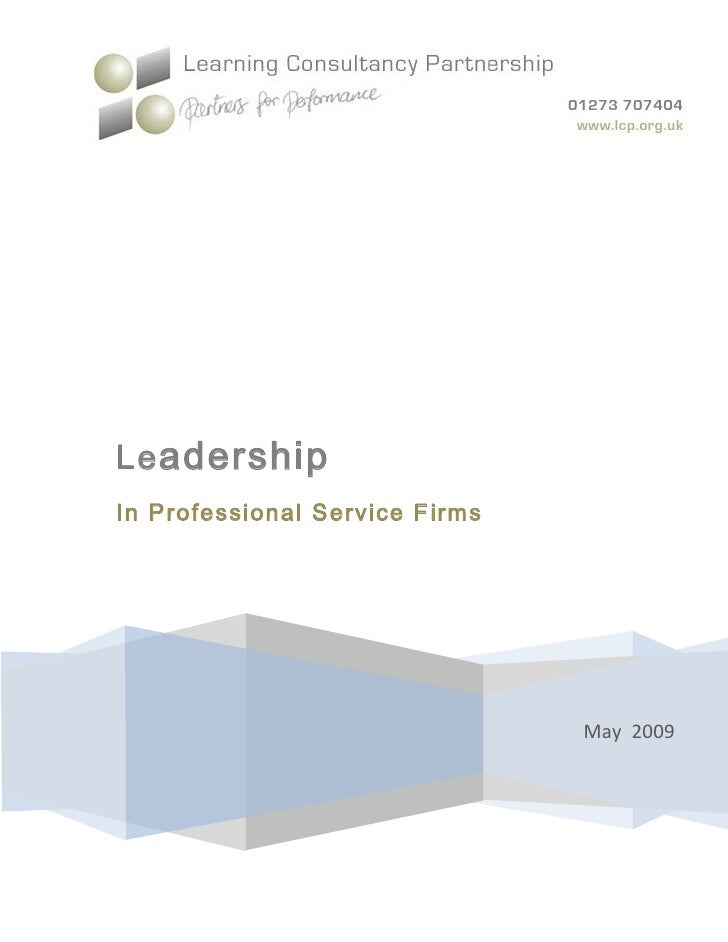 Leadership in Professional Service Firms